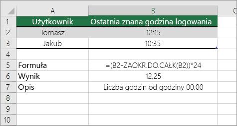 Przykład: konwertowanie godzin ze standardowego formatu czasu na liczbę dziesiętną
