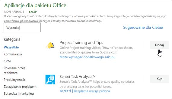 Zrzut ekranu przedstawiający stronę dodatków pakietu Office w sklepu, w którym można wybrać lub Wyszukaj dodatek dla programu Project.