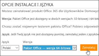 Zrzut ekranu przedstawiający opcje języka i wersji oraz przycisk Zainstaluj