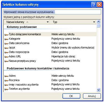Okno dialogowe selektora kolumn witryny