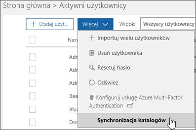 Z menu Więcej wybierz pozycję Synchronizacja katalogów