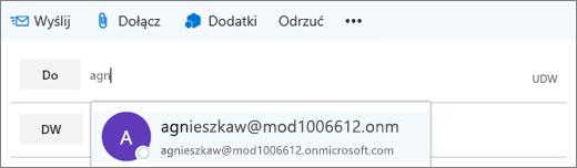 Zrzut ekranu przedstawiający wiersz wiadomości e-mail Do z opcją usunięcia adresu e-mail adresata. W polu Do funkcja Autouzupełnianie podaje adres e-mail adresata na podstawie wpisanych pierwszych kilku liter nazwy adresata.