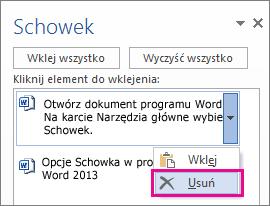 Usuwanie elementu ze schowka programu Word 2013