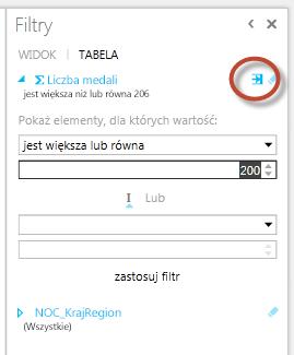 Ikona Filtr zaawansowany w programie Power View