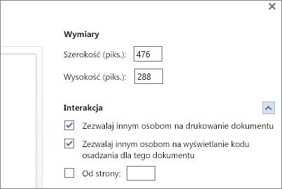 Opcje osadzania dokumentu programu Word