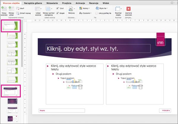 Prezentacja z dwoma wzorcami slajdów