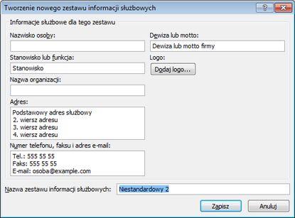 Tworzenie nowego zestawu informacji służbowych w programie Publisher 2010