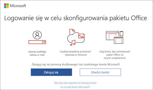 """Przedstawia stronę """"Logowanie się w celu skonfigurowania pakietu Office"""", która może zostać wyświetlona po zainstalowaniu pakietu Office"""