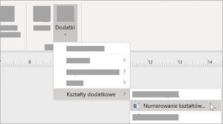 Na karcie Widok wybierz pozycję Dodatki > Kształty dodatkowe > Ponumeruj kształty, aby dodać formatowanie liczb.