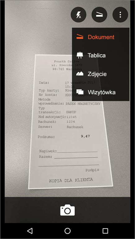 Zrzut ekranu: przechwytywanie obrazu w aplikacji Office Lens dla systemu Android.
