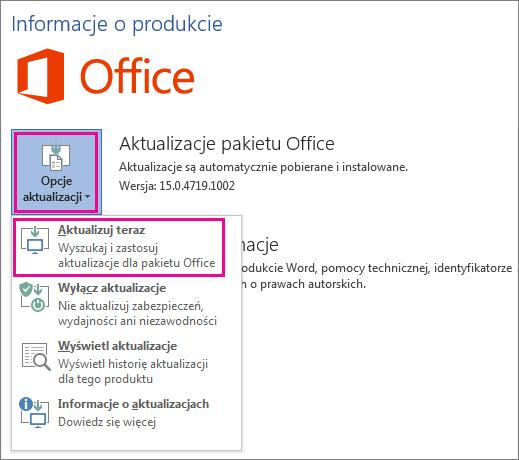 Ręczne wyszukiwanie aktualizacji pakietu Office w programie Word 2016