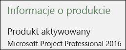 Informacje o produkcie — Project Professional 2016