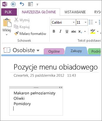 Kliknij w dowolnym miejscu, aby wpisać notatki w programie OneNote