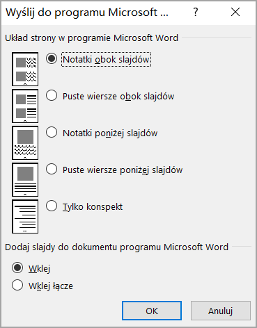 Pole Wyślij do programu Microsoft Word