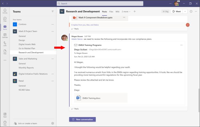Udostępnianie w u kontie Teams — wyświetlanie wiadomości e-mail w użytce usługi Teams