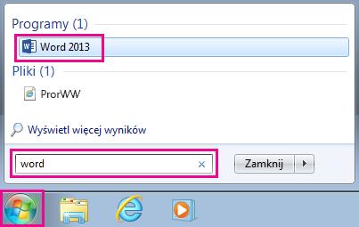 Wyszukiwanie aplikacji pakietu Office w systemie Windows 7