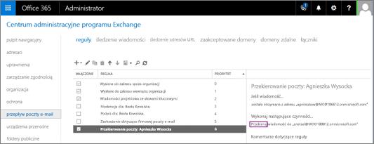 Zrzut ekranu przedstawiający stronę Reguły obszaru Przepływ poczty w Centrum administracyjnym programu Exchange. Dla reguły przekierowywania poczty użytkownika Lidia Nowakowska jest zaznaczone pole wyboru Włączone.