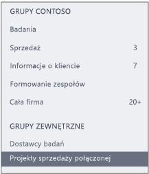 Zrzut ekranu przedstawiający pasek nawigacyjny usługi Yammer z sekcją Grupy zewnętrzne