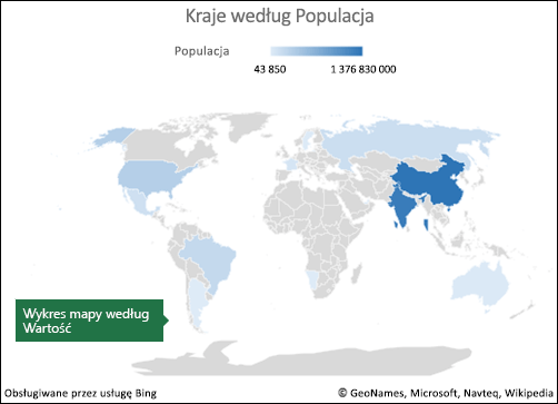 Wykres mapy w programie Excel z danymi wartości