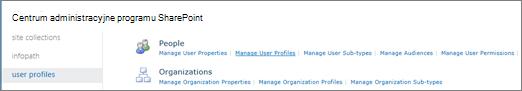Łącze Zarządzaj profilami użytkowników na stronie profile użytkownika