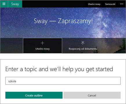 Złożony zrzut ekranu przedstawiający ekran Sway — Zapraszamy i okienko pozycji tematu Szybki start.