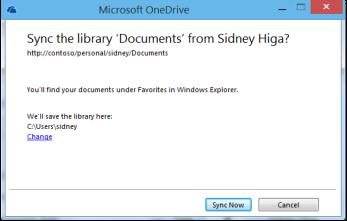 Okno dialogowe synchronizacji biblioteki zawierające łącze Zmień służące do zmiany lokalizacji