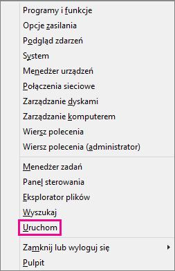 Polecenie Uruchom po kliknięciu prawym przyciskiem myszy przycisku Start w systemie Windows 8 i Windows 10