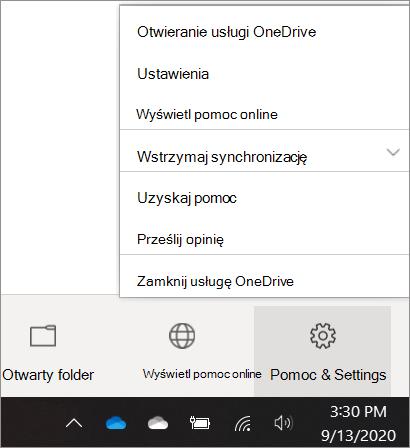 Zrzut ekranu przedstawiający przechodzenie do ustawień usługi OneDrive