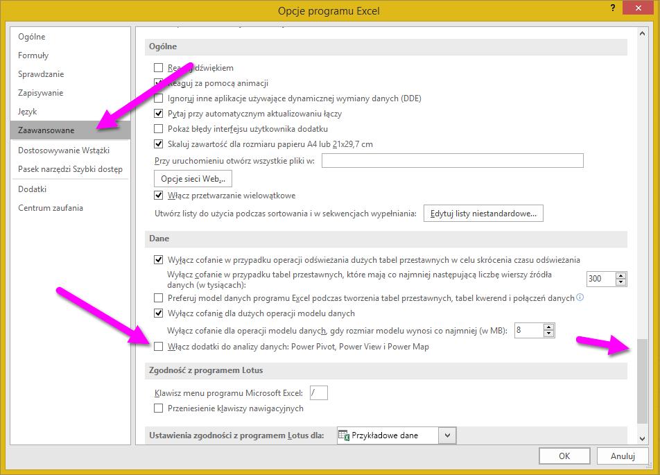 Okno Opcje programu Excel
