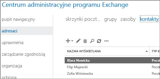 Wyświetlanie kontaktów w celu ułatwienia rozwiązania problemu powodującego zwrócenie kodu błędu 5.7.136 powiadomienia o stanie dostarczenia