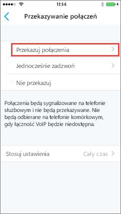 Ekran przekazywania połączeń aplikacji Skype dla firm dla systemu iOS