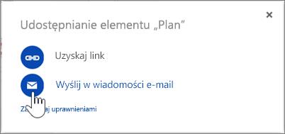 Zrzut ekranu przedstawiający wybór wiadomości e-mail w oknie dialogowym Udostępnianie w usłudze OneDrive