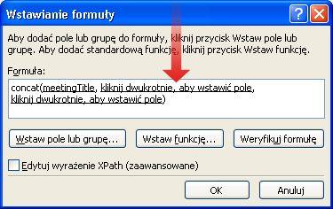 Dwukrotne kliknięcie w celu wstawienia znaku łącznika jako części nazwy formularza