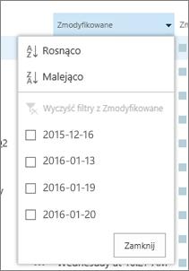 Lista rozwijana w obszarze nagłówki kolumn.