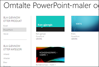 PowerPoint Online templates and themes