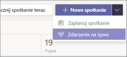 przycisk nowe spotkanie — wydarzenie na żywo