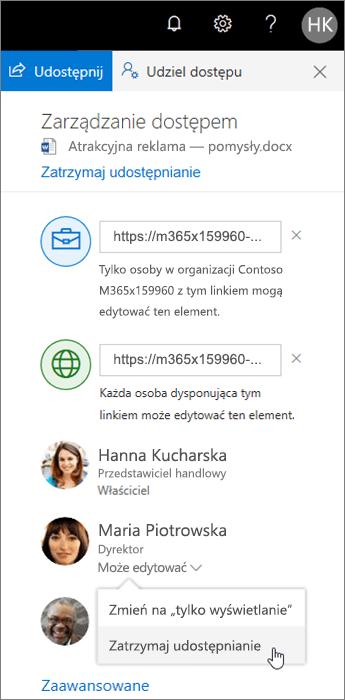 Zmienianie i zatrzymywanie udostępniania w usłudze OneDrive