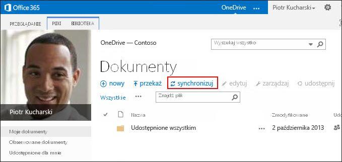 Biblioteka usługi OneDrive dla Firm w usłudze Office 365