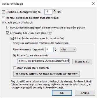 W tym miejscu możesz wybrać opcje autoarchiwizacji.