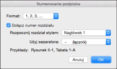 Automatyczne dodawanie numerów rozdziałów do podpisów w programie Word