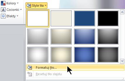 Z prawej strony karty Projektowanie wybierz pozycję Style tła, a następnie Formatuj tło