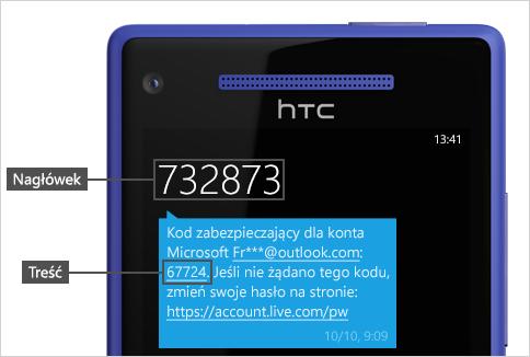 Wiadomość SMS z kodem.