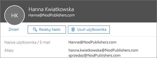 Ten użytkownik ma adres podstawowy oraz dwa aliasy.