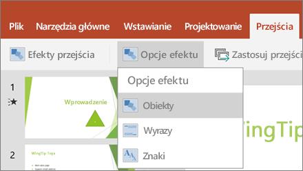 Przejścia > menu Opcje efektu w programie PowerPoint dla systemu Android.