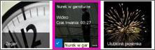 Zrzut ekranu biblioteki klipów wideo. Dwa z klipów wideo w bibliotece mają obrazy miniatur zawartości wideo, a jeden obraz jest tylko grafiką przedstawiającą klatkę filmu.