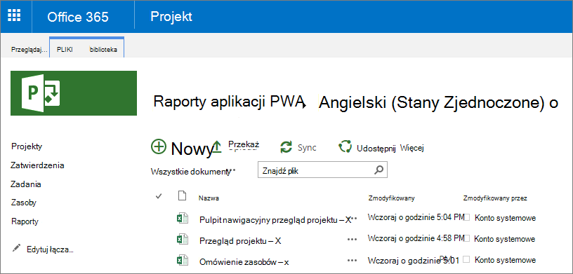 Na stronie raporty programu PWA wybierz odpowiedni język.