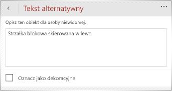 Okno dialogowe tekst alternatywny dla kształtów w programie PowerPoint dla telefonów z systemem Windows.