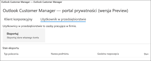 Zrzut: Dane pracowników eksportu Menedżer klienta programu Outlook