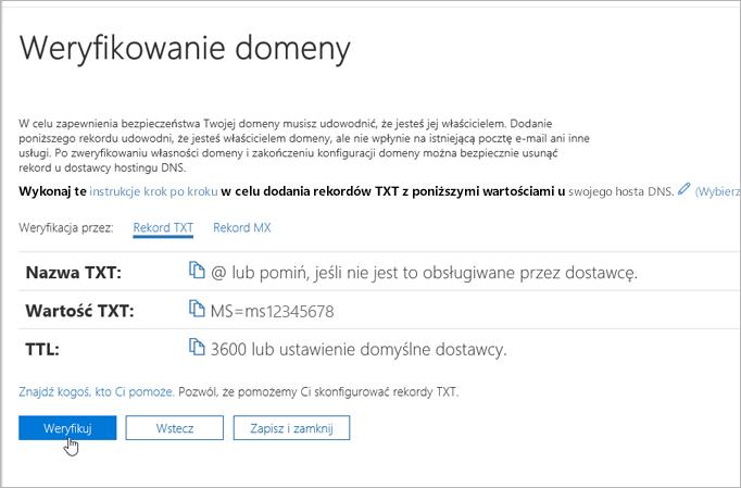 Freenom weryfikowanie domeny w 365_C3_2017617122635 pakietu Office