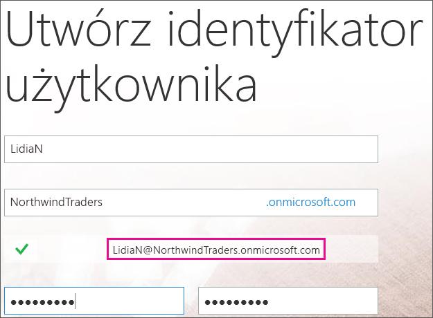 Strona Utwórz identyfikator użytkownika. Firma Microsoft tworzy Twój identyfikator użytkownika na podstawie wprowadzonego przez Ciebie imienia i nazwiska oraz szczegółów dotyczących firmy.